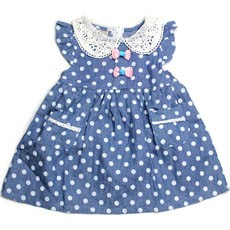 Dots Denim One-piece Dress with Lace Collar for Toddlers