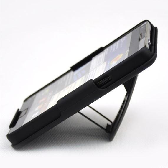 Samsung Galaxy S2 Black 2 in 1 Belt Clip Kickstand Case