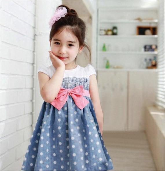 Polka Dot One-Piece Pleated Dress with Bow