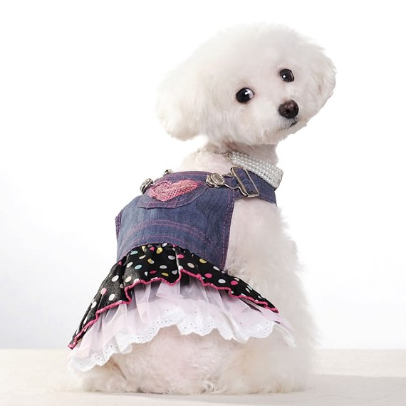 Sleeveless Casual Denim Dog Suspender Skirt