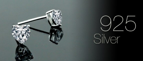 Heart Shape Cubic Zirconia Stud Earrings Set on 925 Sterling Silver Coated with Platinum