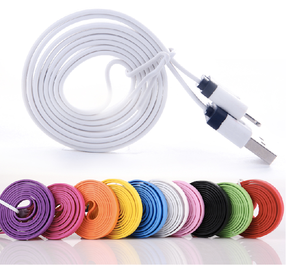 GooDGo 1M 3Ft Dual Color Noodle Flat 8 Pin Lightning to USB Port Data Charging Cable Line Cord for iPhone 5