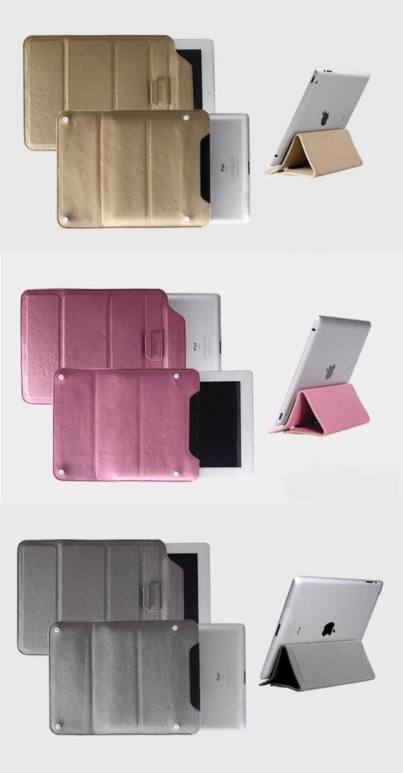 2-in-1 Suede Slip In Pouch Bag Cum Stand for The new iPad / iPad 2