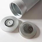 Silver Aluminium Travel Cigar Case Tube with Humidor Hygrometer Humidifier