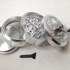 """New Silver 4pc Hand Crank Tobacco Herb Spice Grinder Crusher 2.5"""" Aluminum"""