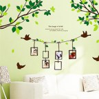 Decorative Living Room Wall Art Sticker Decals - Birch Trees with Birds