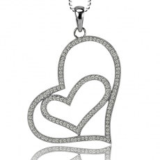 Cubic Zirconia Micro-Setting Double Heart Pendant with Necklace Set on 925 Sterling Silver Coated with Platinum