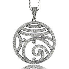 Cubic Zirconia Micro-Setting Circular Pendant with Necklace Set on 925 Sterling Silver Coated