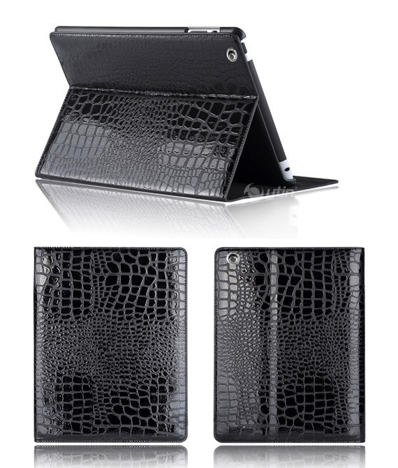 Leather Flip Case with Crocodile Texture for iPad 2 and the New iPad
