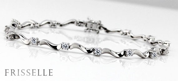Wavy Shape Cubic Zirconia Bracelet Set on 925 Sterling Silver Coated with Platinum