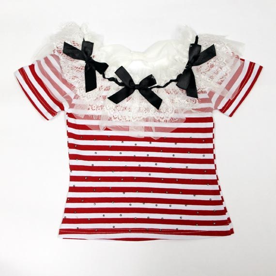 Bling Bling Stripe Tee with Lace & Ribbon for Toddler