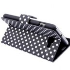 Samsung Galaxy Note i9220 Polka Dot Leather Stand Case