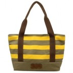 Stripe Canvas Shopper Tote Bag