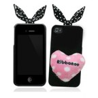Soft Rabbit Bow loving heart Tail Case Cover For iPhone 4 4S