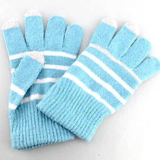 Striped Touchscreen Knit Gloves