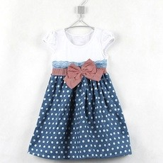 Polka Dot One-Piece Pleated Dress with Bow