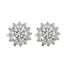 Earrings Set on 925 Sterling Silver Coated with Platinum