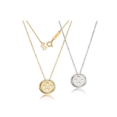 Korean Designed Button-Shaped 925 sterling silver necklace as seen worn  by Korean Movie Star Park Shin Hye in Korean Television Series Pinocchio